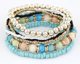 Beautiful multi strand Blue Gold expandable Bracelet