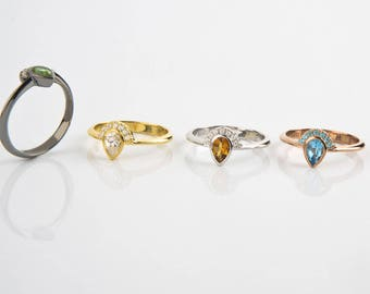 Gold pear ring, Trendy pear ring, CZ pear ring, Topaz pear ring, Citrine pear ring, Rose gold pear ring, CZ pear ring