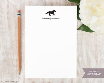 Personalized Notepad - HORSE - Stationery / Stationary Notepad - Mens or Womens Professional Animal Note Pad Stationery
