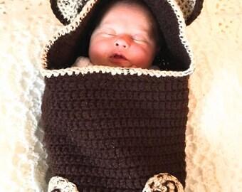 Teddy Bear Crochet Hooded Swaddle Sack