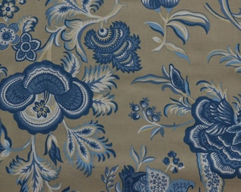 Blueberry Buckle Fabric, Flower Fabric, Beige and Blue Floral, Tan Fabric, Quilting Supply, Cotton Fabric By The Yard, Fat Quarters, Craft