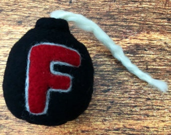 Needle Felted Wool F Bomb Gag Gift Sometimes Words Aren't Enough Wool Bomb Gift for Him and Her Office Gift Pure Wool F Bomb Felt Bomb