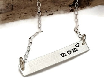 Sterling Silver Bar Necklace - Bar Necklace  - Mom Necklace - Christmas gift for Mom