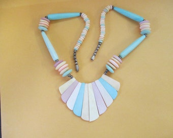 K Vintage pastel  plastic beaded necklace with beaded chain chain 22 inch used no markings