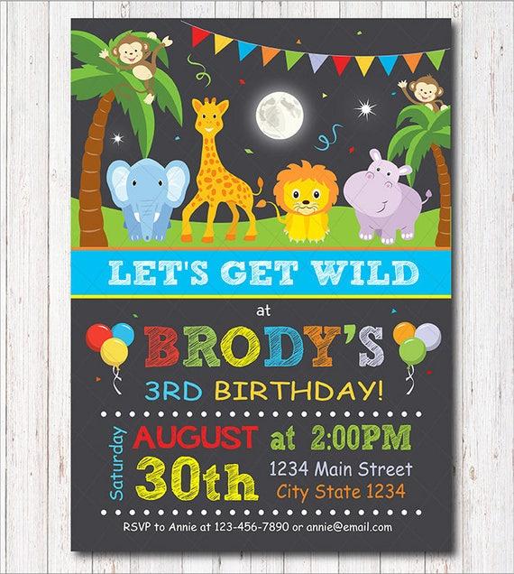 safari invitation safari invite jungle invitation animals