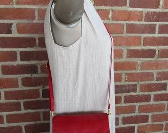 Lipstick Red Leather Bag 1980s 80s Vintage Satchel Purse Tote Handbag Multi Compartment Crossbody Cross Body