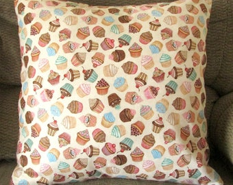 "Cupcake Pillow Cover, 18 Inch Square, Pastel Colors, Pink, Light Blue, Green, Cream, and Brown, Envelope Style Cotton Pillow Case, ""Sweet"""