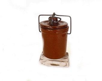 Stoneware Crock Jar with Bail Wire Handle, Kitchen Decor, Food Storage, Vintage Stoneware, Vintage Crock Jar, Primitive Decor, Cooking Decor