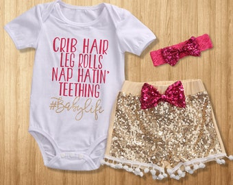 Baby Girl Clothes, Baby Girl Romper, Baby Clothing Set, Baby Romper and Pants