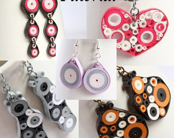 Tutorial for Paper Quilled Jewelry PDF Retro Circles Earrings and Pendant Designs