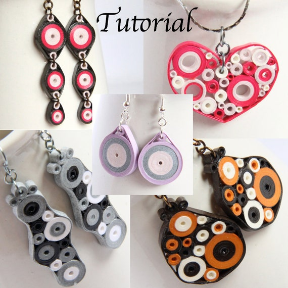 Tutorial for Paper Quilled Jewelry PDF Retro Circles Earrings