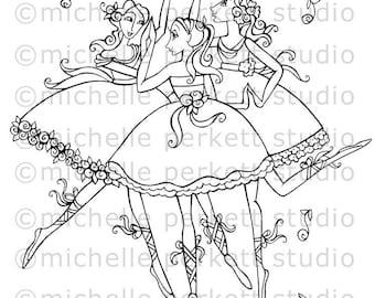 Digital stamp Image Ballerinas Goddesses Girly Pretty Dresses stamping scrapbooking cardmaking