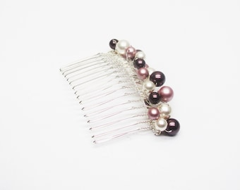 Wedding hair comb white pearls Pearly swarovski crystal, accessory french hand made wedding hairstyle