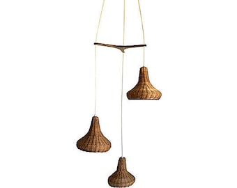 Wicker & Teak Chandelier