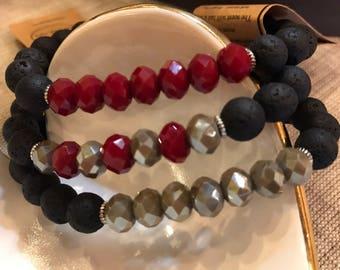 Lava Stone & Crystal Beaded Bracelet
