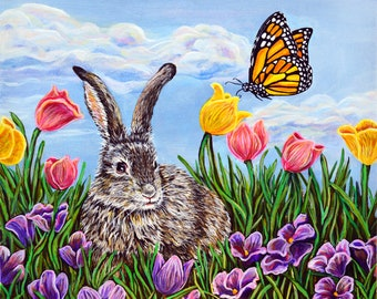 Bunny Rabbit Monarch Butterfly Acrylic Painting