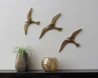 Mid Century Modern - Brass Flying Gulls -  Wall Hanging Art – set of 3 - MCM
