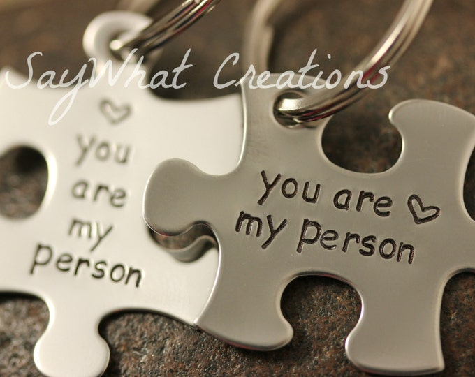 "Custom Hand Stamped Best Friends ""you are my person"" Puzzle Piece Key Chains SET OF TWO"