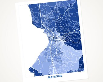Mayagüez Map Print.  Choose the Colors and Size.  Colorful Puerto Rico Art and Decor.  Map of Mayaguez PR. Puerto Rican Art Print.