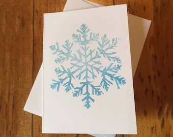 Snowflake Holiday Glitter Handmade Card