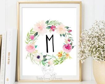 Monogram Art printable flower nursery initials Monogram floral Nursery Letter calligraphy monogram nursery print nursery monogram Initial 53