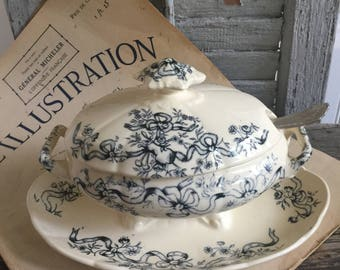 Antique French Sauce Boat// Vintage French Gravy Boat// Small  Tureen with lid, handles and attached underplate// Ivory and Blue Tureen