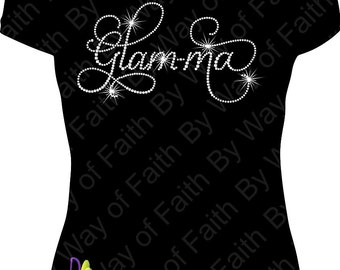 GLAMMA Bling Rhinestone T-Shirt, Women Gifts, Ladies Tee, Promoted to Grandma, I'm the Grandma, Glam-ma, Great Grandma Custom Tee