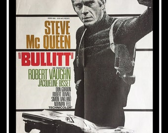 BULLITT (1968) Steve McQueenVery Rare 24x32 Fold French Moyenne Movie Poster Original Vintage Collectible