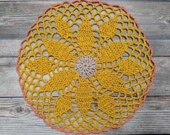 Leaves And Lace Mandala, Crochet Mandala, Crochet Doily, Mandala, Doily, Gift, Fiber Art