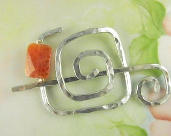 Silver Shawl Pin/Brooch Hand Formed with Fire Agate