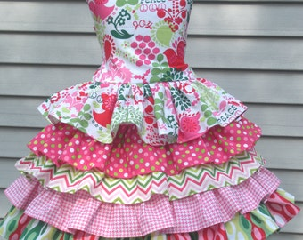 Ready to Ship Custom Boutique Christmas Dress Pink Funky Ruffle Girl Size 5 or 6