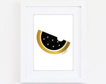 Printable Sweet Watermelon Art Print - Black - Digital Download