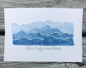 """4x6"""" hand-painted Blue Ridge Mountains watercolor"""