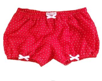 JULY PREORDER Lolita Bloomers red white polka dots white bows shorts cotton underwear lingerie drawers pajamas nightwear sleepwear cute