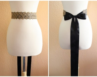 Beautiful Metallic Gold Lace with Black Satin Ribbon Sash, Head Tie, Head Piece , Headband.