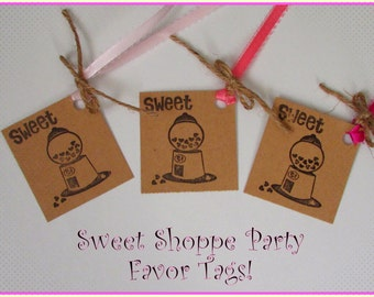 Sweet Shoppe Favor Tags, Gumball Favor Tags, Sweet Shop Favor Tags, Sweet Shoppe Party, Gumball Party, Sweet Shoppe Birthday,Sweets Birthday