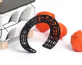 Modern Cuff Bracelet, Cuff Bracelet Black, Modern Jewelry, Structural Jewelry, Modern Gift for Her, Goth Jewelry, black Structure Bracelet