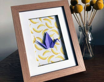 Framed Origami Crane - Purple Origami Crane, Quirky Yellow Banana Print