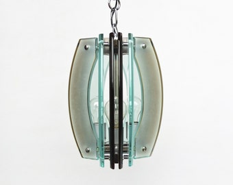 Midcentury Modern Chandelier / Fontana Arte  Veca  Pendant Light / 70s Italy