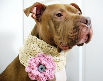 Dog Cowl Beige with Pink Flower Crochet Made to Order