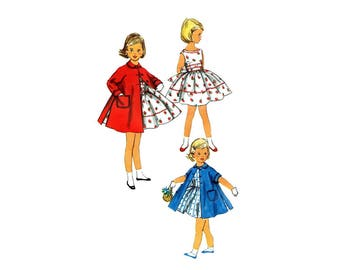 1950s Toddler Girls Full Skirt Dress and Coat Simplicity 1936 Vintage Sewing Pattern Size 1