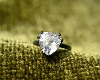 Weiß Saphir-Ring, Billionen geschnitten weiße Saphir und Sterling Silber Ring