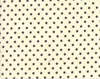 "28"" piece/remnant - Chestnut Street - Polka Dot in Milk and Chalkboard: sku 20276-25 cotton quilt fabric by Fig Tree and Co. for Moda"