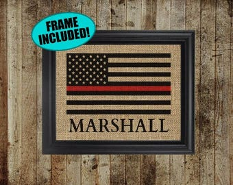 Framed Burlap - Firefighter Gift - Thin Red Line Flag - Fireman Gift - Firefighter Decor - Wall Decor - Red Line Flag