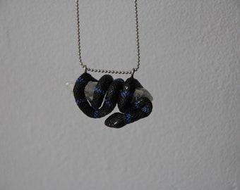 Necklace - pendant of black snake on crystal