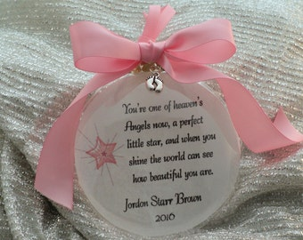 Memorial Ornament, Miscarriage, In Memory, You're One of Heaven's Angels Now, Remembrance