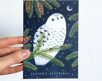 Snowy Owl Christmas Card | Season's Greetings | Holiday Card