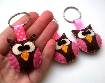 Felt owl keychain - handmande felt animals - key holder - wool felt - eco friendly