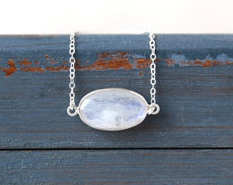 Horizontal Moonstone Oval Sterling Silver Gemstone Bar Necklace // Simple everyday layering jewelry