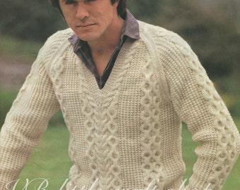 Man's aran v-neck sweater knitting pattern. Instant PDF download!